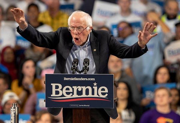Sen. Bernie Sanders spoke during a rally at Williams Arena on the University of Minnesota campus on Sunday, Nov. 3.