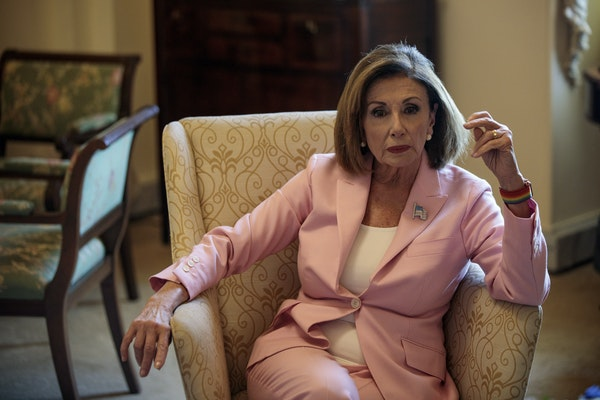 House Speaker Nancy Pelosi, D-Calif., in her offices at the Capitol in Washington in late September. As speaker of the House, Pelosi is third in line