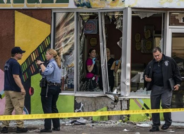 A driver smashed into a bakery at 17th Avenue and Lake Street on Monday after carjacking a vehicle and injuring at least five people, Minneapolis poli