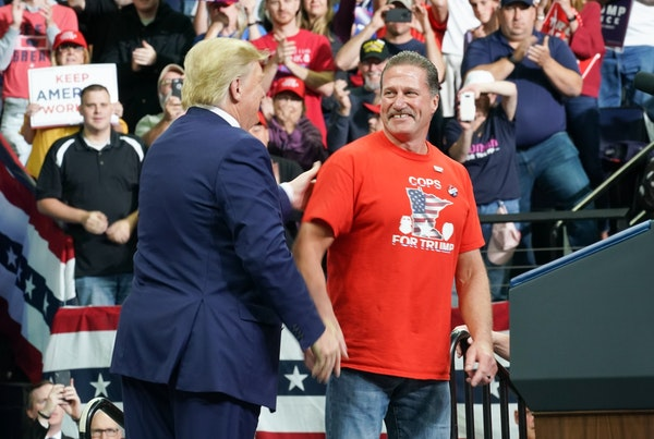 President Donald Trump called Bob Kroll up to the stage at the Target Center in Minneapolis, Minnesota. He is head of the Minneapolis Officers Union.