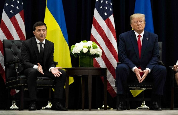 President Volodymyr Zelenskiy of Ukraine speaks while meeting with President Donald Trump at the InterContinental New York Barclay in New York, Sept.