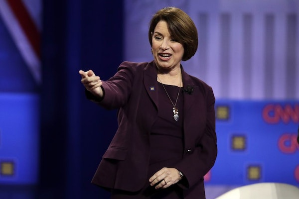 Democratic presidential candidate Sen. Amy Klobuchar, D-Minn., speaks during the Power of our Pride Town Hall Thursday, Oct. 10, 2019, in Los Angeles.