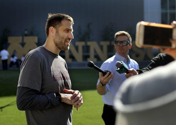 Gophers defensive coordinator Joe Rossi was interviewed after practice recently.