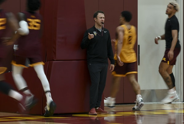 Gophers men's basketball coach Richard Pitino ran drills last week during the team's first official practice of the 2019-20 season.