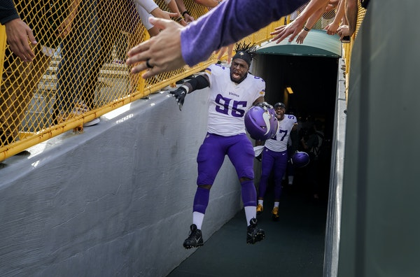 Ifeadi Odenigbo was fired up as he took the field for pregame warmups in Green Bay on Sept. 15.