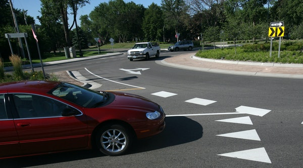 Crashes in roundabouts are far less likely to cause injuries or deaths because cars are generally moving at lower speeds and in the same direction.