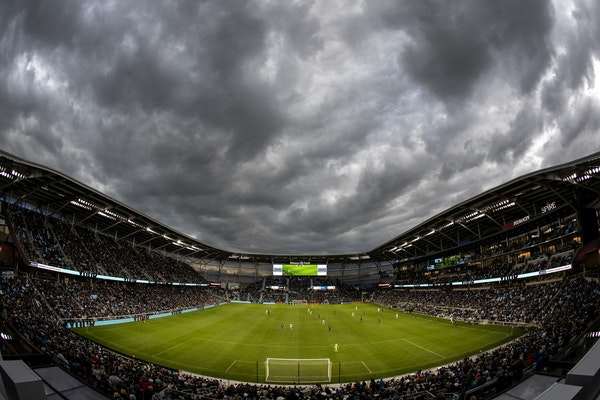 Clouds gathered over Allianz Field in St. Paul as the Minnesota United took on Hertha Berlin in a friendly in May.