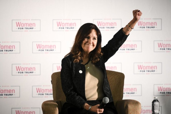 """Second Lady Karen Pence raised her fist in the air while invoking a call to reelect President Donald Trump in the 2020 elections Wednesday during a """"W"""