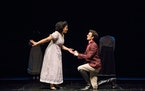 """Mr. Darcy (Paul Rutledge) has a proposal for Lizzy (China Brickey) in """"Pride and Prejudice"""" at Park Square Theatre through Dec. 22. """""""