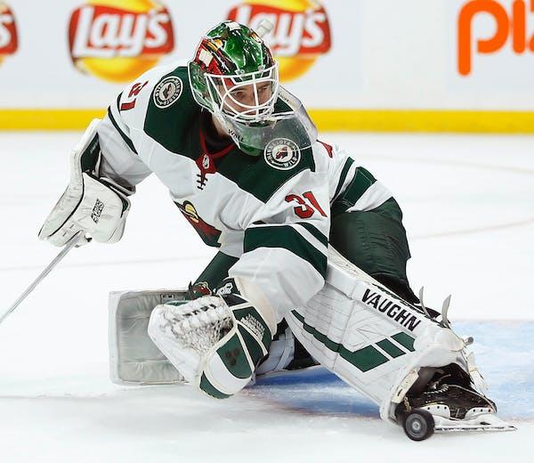 Wild goaltender Kaapo Kahkonen made a save against Winnipeg in a preseason game in September. He'll make his Wild and NHL debut against the Devils on