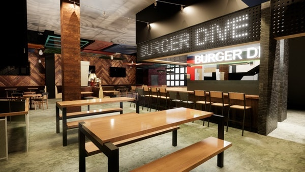 A rendering of Burger Dive at the new Potluck food hall at Rosedale Center
