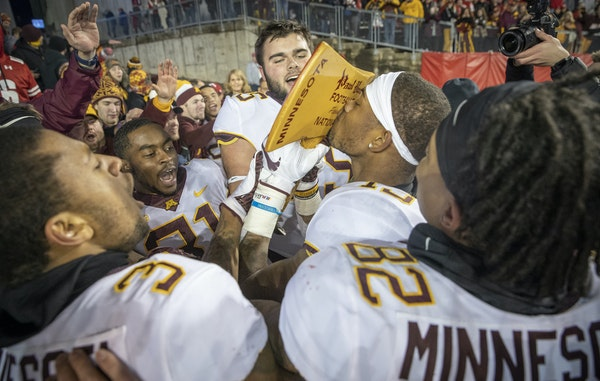 The Gophers huddled and hollered after reclaiming Paul Bunyan's Axe a year ago in Madison. A repeat on their home turf this season would give Minnesot
