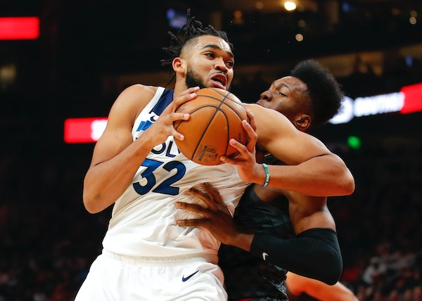 Timberwolves center Karl-Anthony Towns filled up the stat sheet with 28 points, 13 rebounds and eight assists against the Hawks on Monday. He scored 1