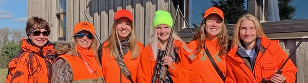 North of Hibbing this weekend, during the first statewide youth deer hunt, Nancy Burkes, left, and Hillarie Glad, second from left, hosted Leah Bloomq