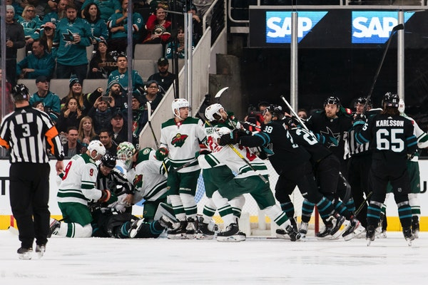 A fight broke out between the Sharks and Wild during the second period Thursday night, and it wasn't the final scuffle of the evening.