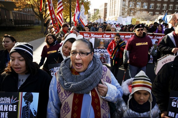 Dorene Day sang the American Indian Movement theme song during a march in 2014 outside TCF Bank Stadium protesting the name of the Washington team.