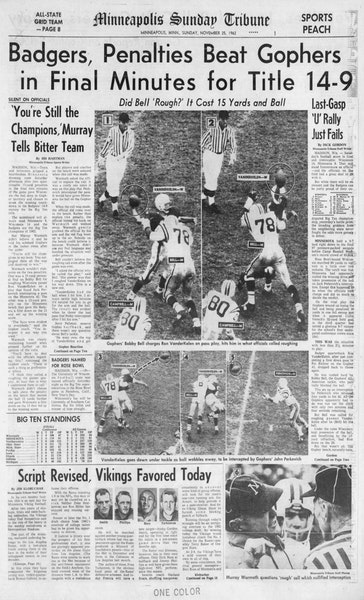 """Nov. 25, 1962:The Minneapolis Sunday Tribune Sports """"Peach"""" was packed with college football coverage and photography — including the above s"""