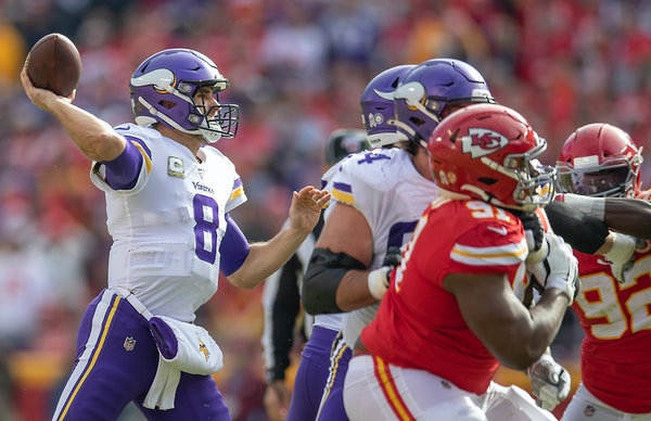 Kirk Cousins' 50% completion rate Sunday against the Chiefs was his second-worst of the season.