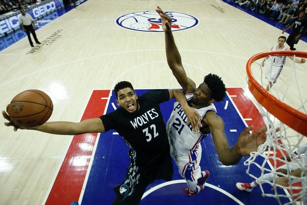 Karl-Anthony Towns went up for a shot against Philadelphia's Joel Embiid during a game in January, 2017