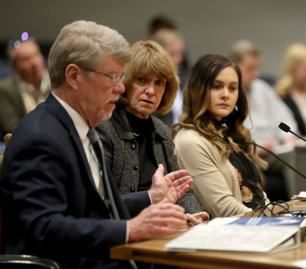 Jodi Harpstead, center, Minnesota Department of Human Services Commissioner (DHS), appeared in October before a Senate committee about the agency maki