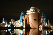 The William A. Irvin museum ore ship was carefully moved into its slip at the Duluth Harbor late Wednesday.