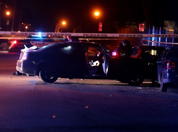 St. Paul police investigators were on the scene of a multiple shooting with at least one dead Saturday night near the intersection of Maryland Ave. E
