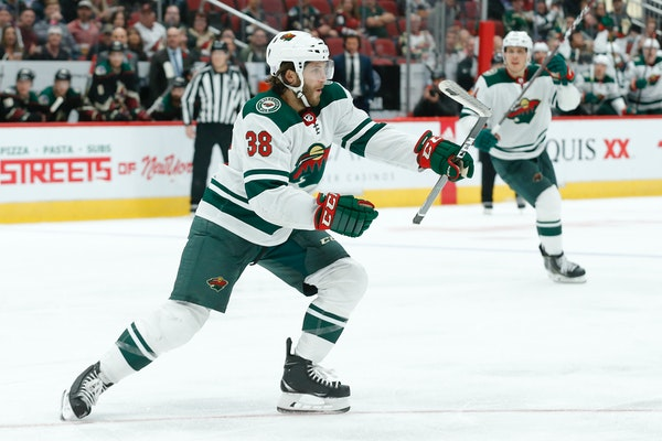Wild right wing Ryan Hartman celebrates after scoring a goal against the Coyotes in the third period