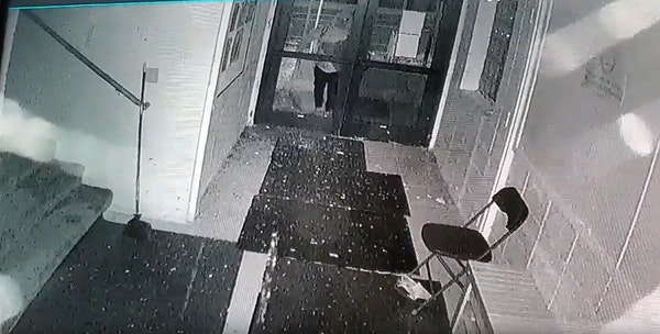Surveillance video at Salaam Mosque in Northeast Minneapolis shows an individual smashing a glass door in the mosque.