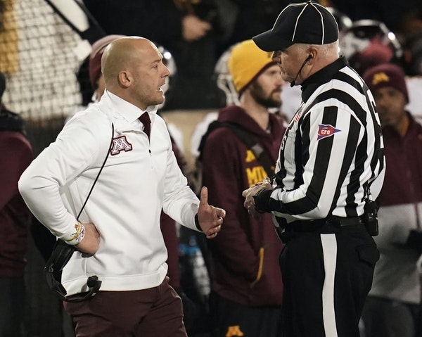 Minnesota Gophers wide receiver Tyler Johnson (6) took a late hit in the third quarter resulting in an unsportsmanlike conduct penalty, which was offs