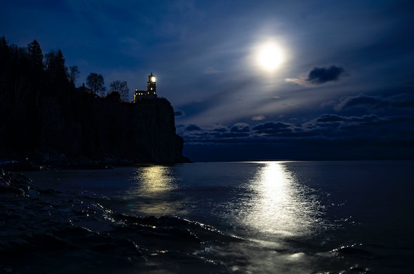 The Split Rock Lighthouse is lit to honor the 29 men who died in the wreck of the Edmund Fitzgerald.