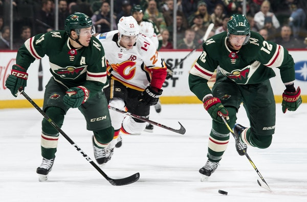 Zach Parise (11) and Eric Staal (12) are two of 10 Wild players who have appeared in all 19 games this season.