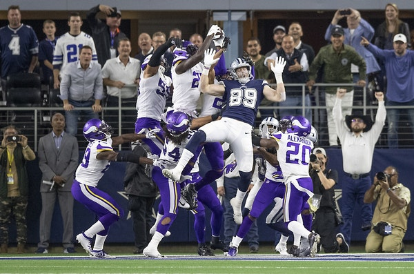 Minnesota Vikings' safety Jayron Kearse came up with the interception in the end zone in the last play for a Vikings 28-24 win over the Dallas Cowboys