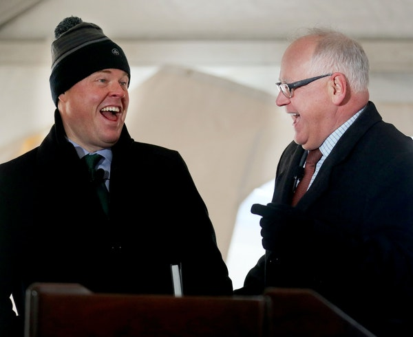 Mike Ryan of Ryan Cos. and Gov. Tim Walz joined Tuesday in the unveiling of the plan which includes plans for an artificial river to capture stormwate