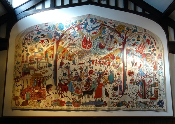"""""""Churchmen in the New World"""" in the Guild Hall at Plymouth Congregational Church in Minneapolis."""
