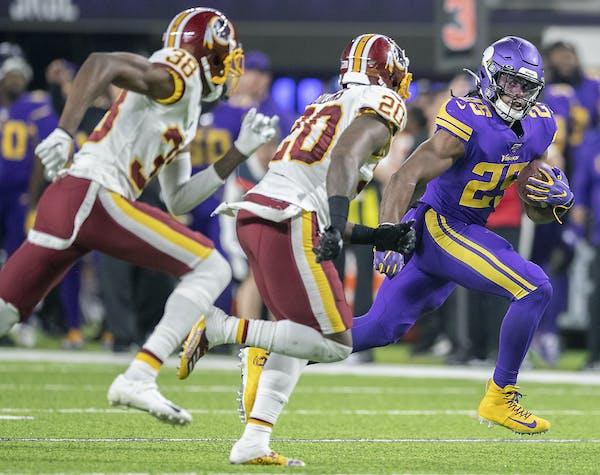 Vikings rookie running back Alexander Mattison, running vs. the Redskins on Oct. 24, has 389 yards rushing on 79 carries.