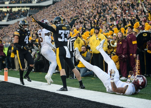 Iowa defensive back Riley Moss celebrated after he broke up a pass intended for Gophers wide receiver Chris Autman-Bell.