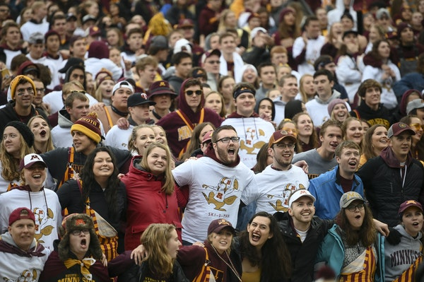 The Gophers student section cheered for the team before their game against Illinois in early October.