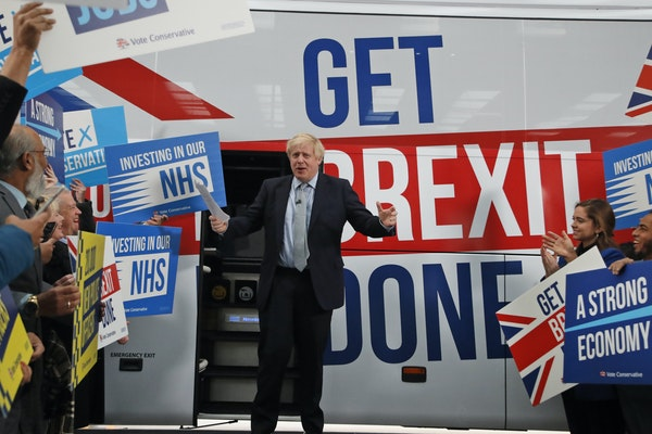 Britain's Prime Minister Boris Johnson during a campaign stop in Manchester, England, on Nov. 15, 2019.