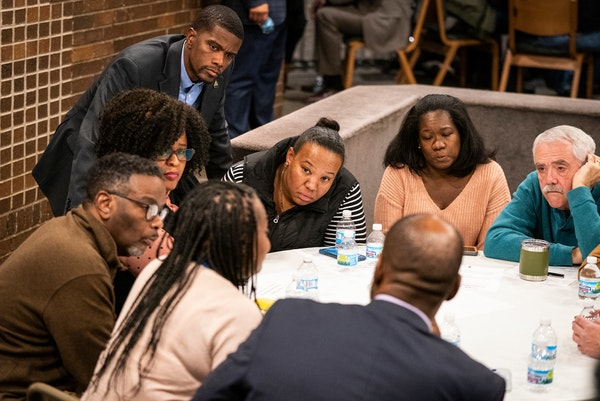 St. Paul Mayor Melvin Carter, top, listened in on small groups of community listening circles earlier this month.