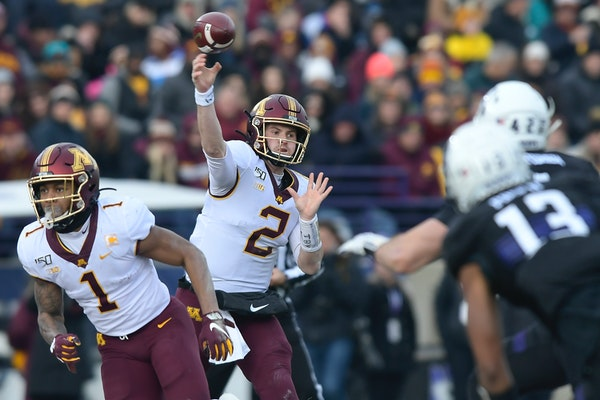 Gophers quarterback Tanner Morgan threw downfield in the second quarter at Northwestern.