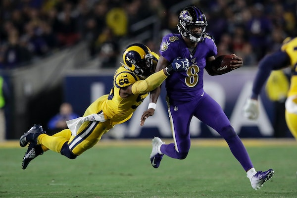 Ravens quarterback Lamar Jackson's five touchdown passes Monday night against the Rams have elevated him to the top of the early MVP discussion.