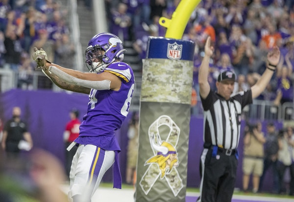 Minnesota Vikings' tight end Irv Smith Jr. celebrated his touchdown in the third quarter.