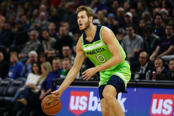 Jake Layman has playing big at 6-8 in a small Wolves lineup.