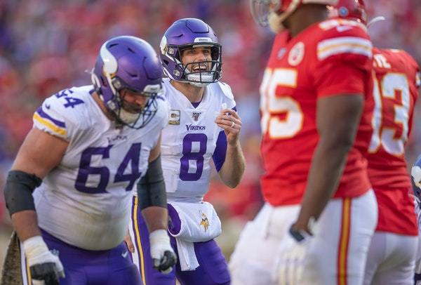 Vikings quarterback Kirk Cousins yelled over a loud crowd to call a play in the fourth quarter during Sunday's 26-23 loss at Kansas City.