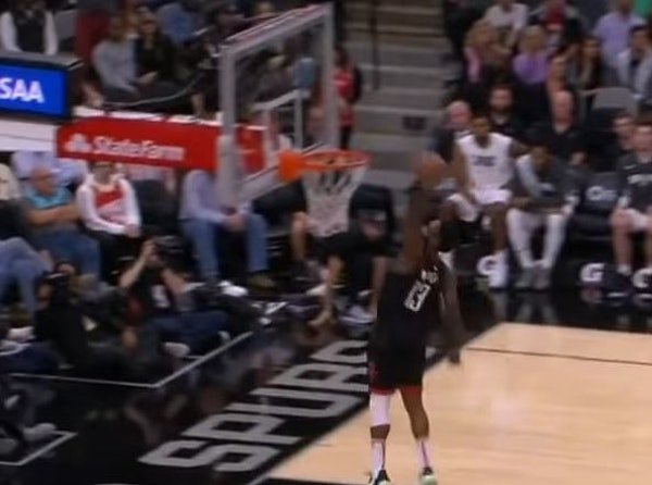 James Harden didn't get credit for this dunk against the Spurs.