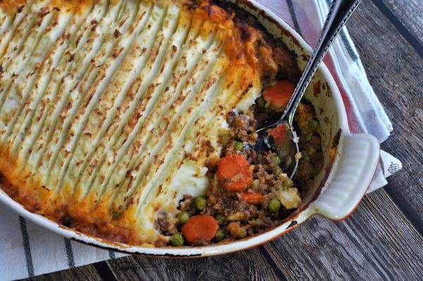 Shepherd's pie with parsnip-potato mash.