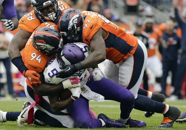 Von Miller (58) and Broncos teammates sacked Teddy Bridgewater in a victory over the Vikings on Oct. 4, 2015 in Denver.