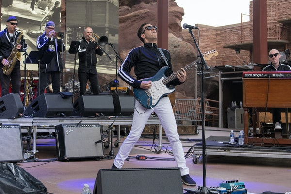 Cory Wong performs at Red Rocks Amphitheatre in Colorado.