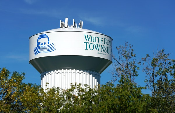 The White Bear Township water tower is seen from Bald Eagle Lake Recreation Area.