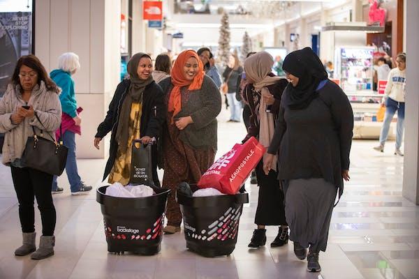 Isnino Jimale and Ayni Shardi of Faribault and Roda Farah and Nora Shardi of Burnsville shopped at Mall of America on Black Friday 2018.